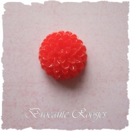 (FL-bl-016) Flatback - chrysantje - rood - 15mm