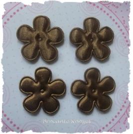 (BLE-028a) 4 bloemen - satijn - m. bruin - 25mm
