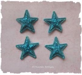(Ster-013) 4 glitter - sterretjes  - aqua - 13mm