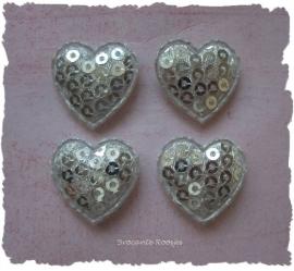 (H-016) 4  hartjes - pailletjes - zilver - 2cm