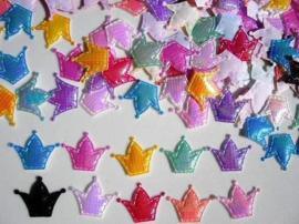 (KR-003) 10 Kroontjes - glans - kleurenmix - satijn