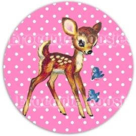 (FB-004) Flatback button - hertje - stipje - roze