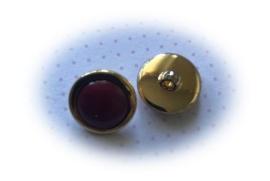 (Kn-010) Knoopje - bordeaux-rood/goud - 18mm
