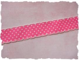 (STs-006) Stippenband met schulprandje - fuchsia - 25mm