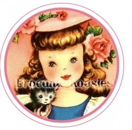 (FB-024) Flatback button - vintage meisje - poesje - roze