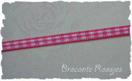 (RU-002) Ruitjesband - fuchsia - 5mm