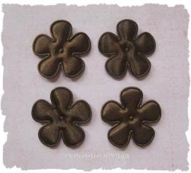 (BLE-028) 4 satijnen bloemetjes - donker bruin - 25mm