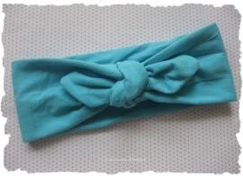 (GHK-002) Geknoopte haarband - elastisch - aqua
