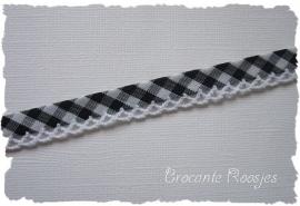(BI-018) Biaisband met kantje - ruitje - zwart