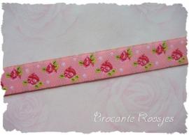 (RO-001) Roosjesband met stipjes - roze