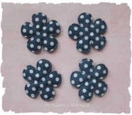 (BLsk-010a) 4 bloemen - stippen - katoen - donkerblauw - 25mm