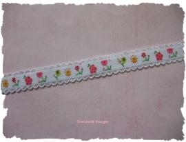 (EB-pr-001) Elastisch band met kantje - roze & gele bloemetjes - 12mm
