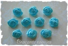 (R-014) 10 satijnen roosjes - aqua - 10mm