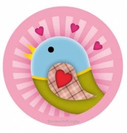(FB-012) Flatback button - vintage vogeltje - roze