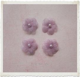 (BLO-006) 4 organza bloemetjes met pareltje - lila - 13mm