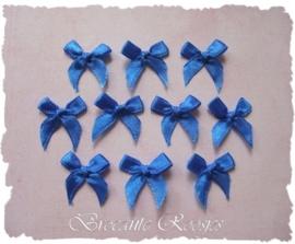 (S-020) 10 satijnen strikjes - koren blauw