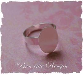 (Rp-007) Verstelbare ring met ovaal plakvlakje 16x12mm - diameter 17mm
