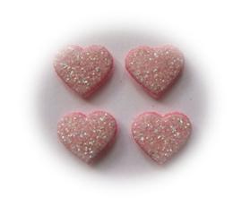 (H-003b.1) 4 glitter hartjes - roze - 12mm
