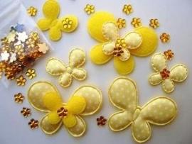 (V-com-007) Combi-set vlinders & strass bloemetje - geel