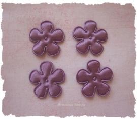 (BLE-021a.1) 4 satijnen bloemen - violet - 25mm