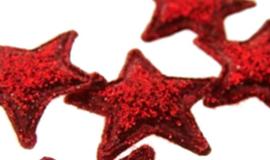 (Ster-012a) 4 glitter sterretjes - rood - 13mm