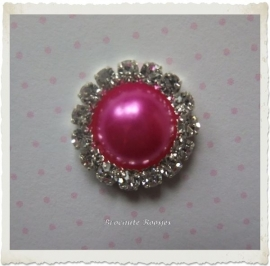 (FLp-019) Flatback - parel - strass - fuchsia - 15mm