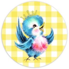 (FB-011) Flatback button - vintage vogeltje - birdy blue