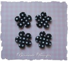 (BLsk-010c) 4 bloemen - stippen - katoen - zwart - 25mm
