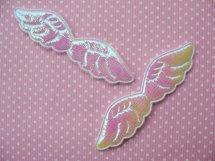 (KE-007) 2 Engelenvleugeltjes - glans - wit - 7.5 cm