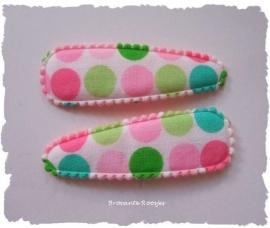 (HOS-026) 2 hoesjes - grote stippen - roze-fuchsia-mint - groen - 55mm