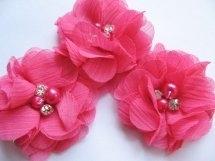 (BLzc-018) Chique bloem - pareltjes & strass - fuchsia - 5cm