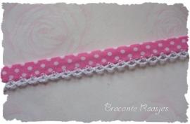 (BI-020) Biaisband met kantje - stipje - roze