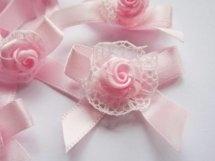 (Sd-008) Strikje met kantje  en roosje - roze - 4cm