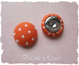 (Skf-017) Stofknoopje - flatback - 18mm - stipje - oranje