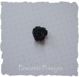 (FLr-001S) Flatback roosje - zwart - 10mm