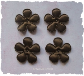 (BLE-053) 4 bloemen - satijn - donker bruin - 35mm
