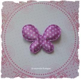 (V-020) Vlinder - polka dot - lila/paars - 4cm