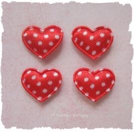 (H-011) 4 hartjes - stipjes - rood - 17mm