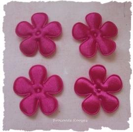 (BLE-015a) 4 satijnen bloemen - cerise - 25mm