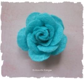 (Rv-023) Vilten roosje - aqua - 45mm