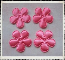 (BLE-034) 4 satijnen bloemen - roze - 35mm