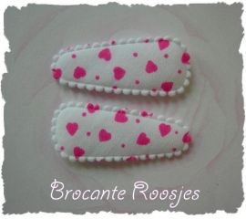 (HOBd-004) 2 hoesjes - baby - hartjes - wit/roze
