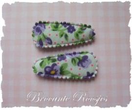 (HOBd-019) 2 hoesjes - baby - roosjes & bloemetjes - paars