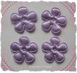 (BLE-021a) 4 satijnen bloemetjes - lavendel - 25mm