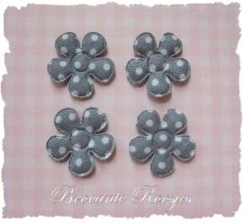 (BLsk-009) 4 bloemen - stippen - katoen - grijs - 22mm