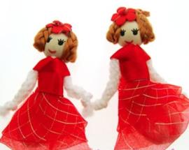 (Pop-003) Popje - rood organza jurkje