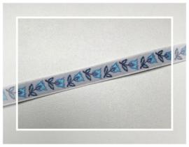 (O-017) Sierband - tulpjes - blauw -  50cm