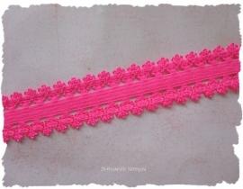 (EB-048) Elastisch band met kantje - neon roze - 22mm