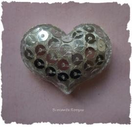 (H-045) Hart - pailletjes - zilver - 4cm