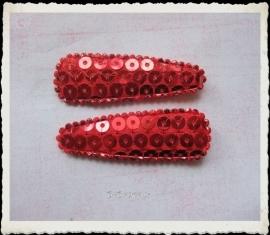 (HOd-018 2 hoesjes - pailletjes - rood - glans - 55mm